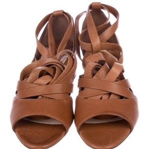Miu Miu Cinnamon Tan Leather Wrap-around Sandals